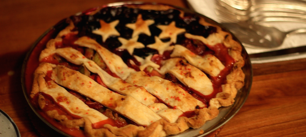 a fruit pie decorated like an American flag for the fourth of July