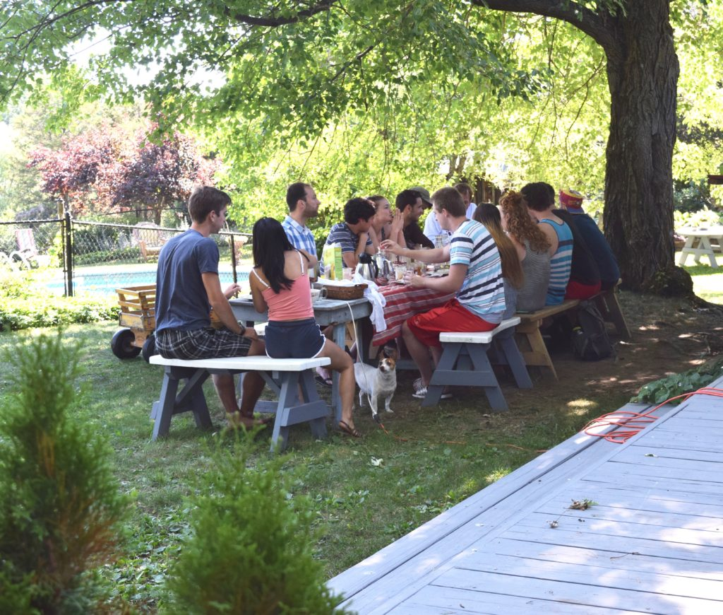group of people enjoying outdoor lunch at picnic table under shade trees