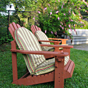 red adirondack chairs with striped pads sit waiting for occupants, green shrub with purple flowers in back