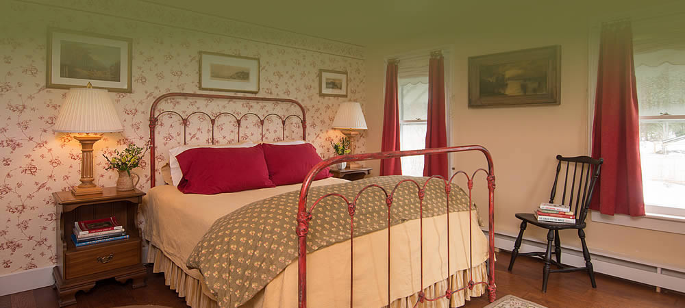 A red wire framed bed in a floral room with an antique chair and side tables with lights.