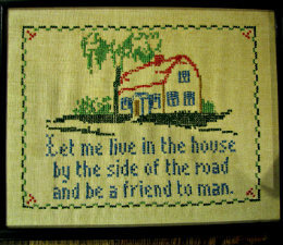 cross stitch sampler of house and quote,